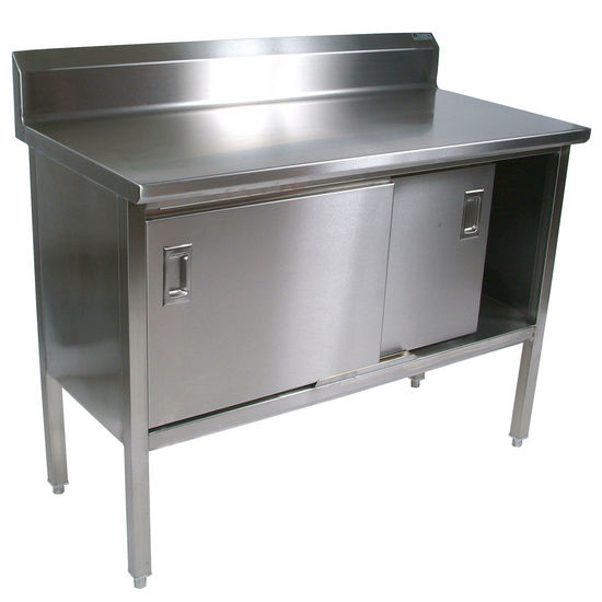 "Enclosed Stainless Steel Kitchen Work Table with 6"" Backsplash and Sliding Door by John Boos"