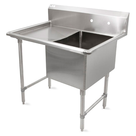 John Boos B-Series Compartment Single Bowl Sink in Multiple Sizes with Left Drainboard, 16-Gauge