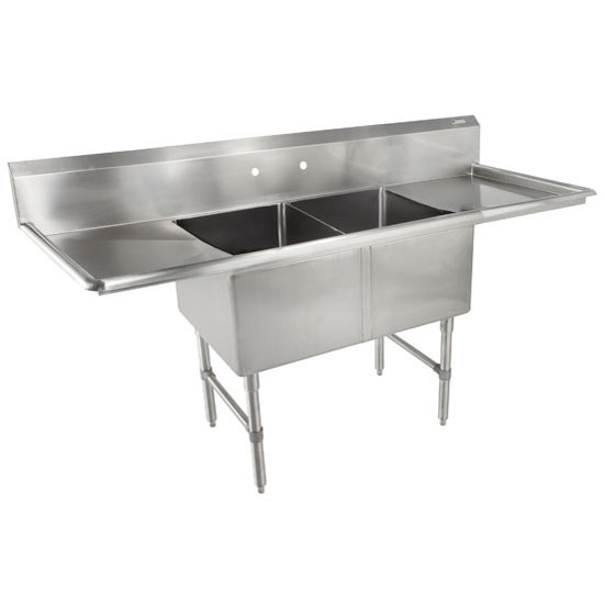 John Boos B-Series Compartment Double Bowl Sink in Multiple Sizes with Left and Right Drainboards, 16-Gauge