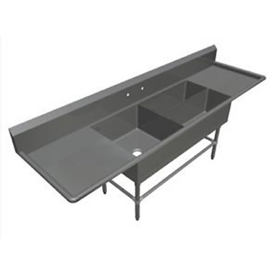 John Boos Pro Bowl Platter Sink, with Left & Right Drainboard, 14 or 16 Gauge, Three Bowls