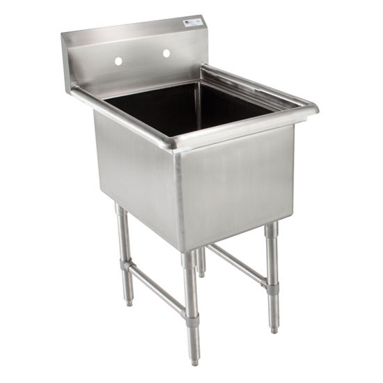 John Boos Budget Single Bowl Sink in Multiple Sizes with No Drainboard, 18-Gauge Type 430 Stainless Steel