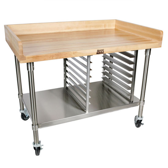 Prep Tables Bakery Preparation W Maple Top Heavy Duty Casters And 4 Riser By John Boos Kitchensource