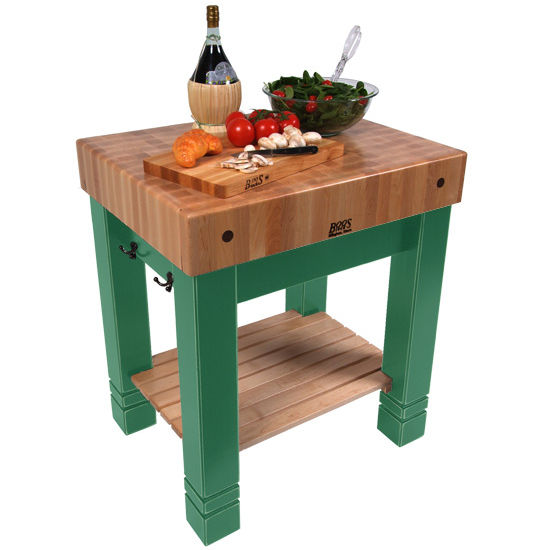 """John Boos American Heritage Butlers Block, 30"""" x 24"""" x 5"""" thick top, Clover Green"""