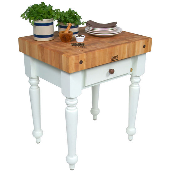 Kitchen cart work tables john boos 30 39 39 cucina rustica kitchen work table with hard maple - Butcher block kitchen work table ...
