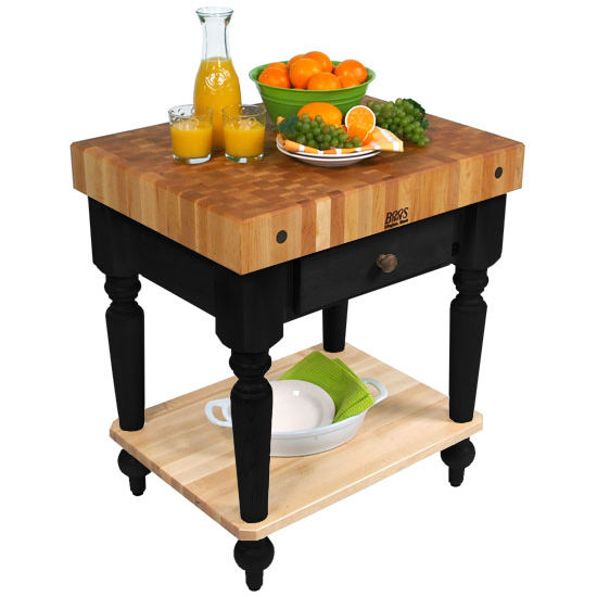 "30"" W Cucina Rustica Kitchen Cart with Shelf by John Boos"