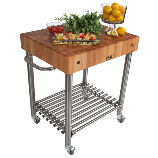John Boos Maple Butcher Block Top Cucina D'Amico Kitchen Cart