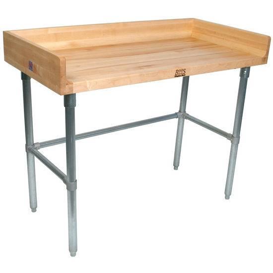 "John Boos 1-3/4"" Thick Maple Top Work Table w/ 4"" Backsplash & Galvanized Base, Oil Finish"