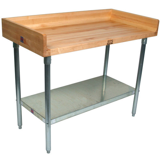 "John Boos 1-3/4"" Thick Maple Top Work Table w/ 4"" Backsplash, Galvanized Steel Base & Shelf, Oil Finish"
