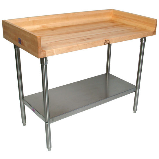 "John Boos 1-3/4"" Thick Maple Top Work Table w/ 4"" Backsplash, Stainless Steel Base & Shelf, Oil Finish"