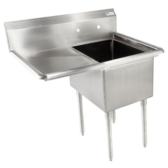 John Boos E-Series Compartment Single Bowl Sink in Multiple Sizes with Left Drainboard, 18-Gauge Stainless Steel