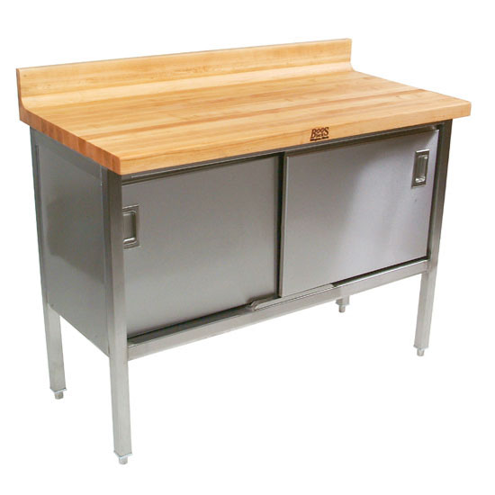 """John Boos Stainless Steel Enclosed Table w/ 1-3/4"""" Thick Hard Rock Maple Top, Sliding Doors & 4"""" Riser on Back Only"""