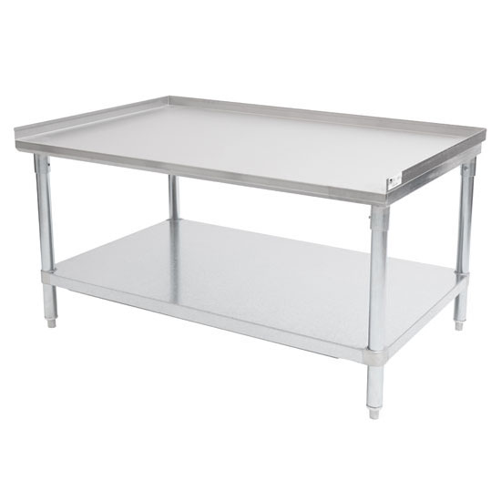 """John Boos 18-Gauge Commerical Stainless Steel Top Equipment Stand with 1-1/2"""" Rear & Side Riser, Galvanized Legs and Adjustable Shelf"""
