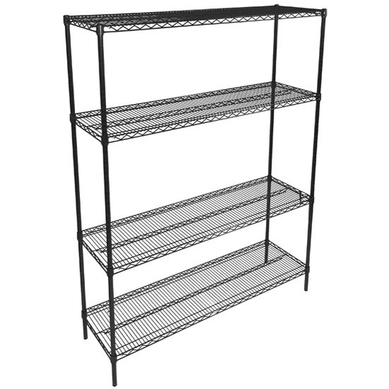 John Boos Black Wire Shelf Kit, Includes (4) Posts and (4) Shelves