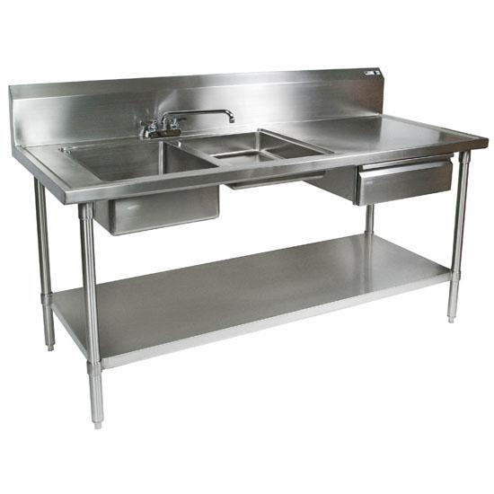 "John Boos Commercial Prep Table Double Bowl Left Sink in Multiple Sizes with 10"" Backsplash, 16-Gauge Stainless Steel, Knockdown"