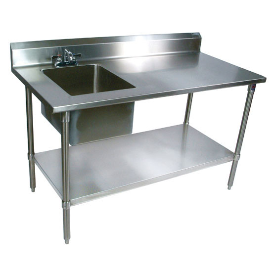 "John Boos Commercial Prep Table Sink Bowl Left Sink in Multiple Sizes with 5"" Clip-Down Riser, 16-Gauge Stainless Steel, Galvanized Legs and Shelf"