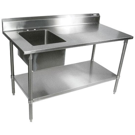 "John Boos Commercial Economy Prep Worktable Sink Bowl Left in Multiple Sizes with 5"" Backsplash, 18-Gauge Stainless Steel, Galvanized Legs and Shelf"