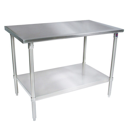 John Boos 16-Gauge Stainless Steel Worktable w/ Galvanized Shelf & Legs