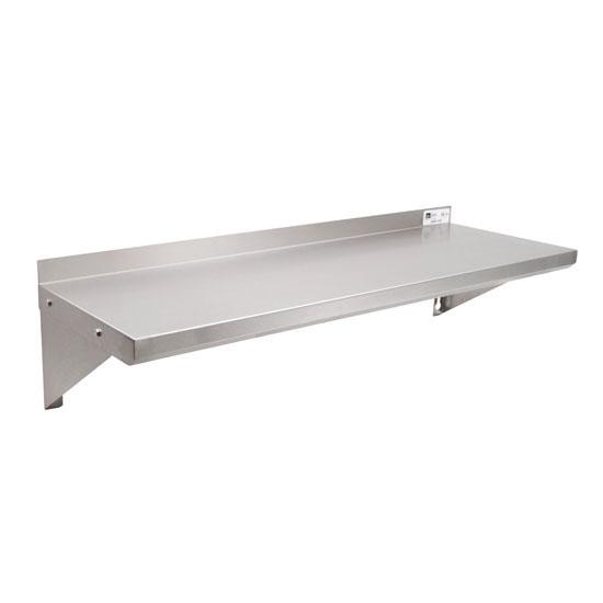 "John Boos EWS8 Series 18-Gauge Type 430 Stainless Steel Wall Shelf in Multiple Sizes with 1-1/2"" Rear High Riser"