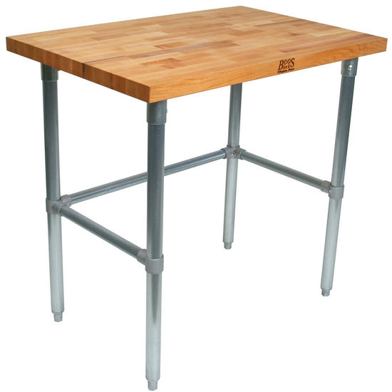 "1-1/2"" Thick Maple Top Kitchen Islands with Galvanized Legs by John Boos"