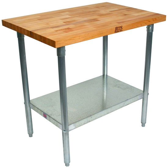 "1-1/2"" Thick Maple Top Kitchen Islands with Galvanized Legs and Shelf by John Boos"