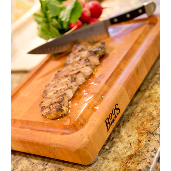 John Boos American Cherry Cutting Board with Stainless Steel Feet