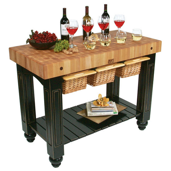 John Boos Gathering Block Iii Kitchen Island With 4 Thick End Grain Maple Top And 3 Pull Out Wicker Baskets 48 W X