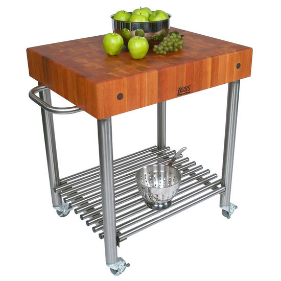 John Boos American Cherry Butcher Block Top Kitchen Cart