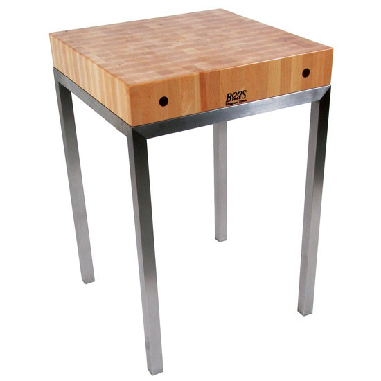 "Metro Station Kitchen Cart with 4"" Thick Maple End Grain Top by John Boos"