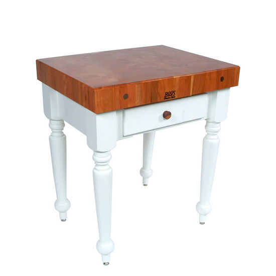 Cherry Top Rustica Kitchen Island in Alabaster by John Boos
