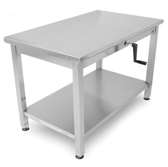 """John Boos Ergonomic Adjustable Hydraulic LIFT Work Table 30"""" W - 72"""", 16-Gauge Stainless Steel Flat Top with Casters and Undershelf Option"""
