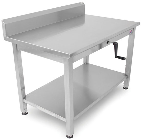 """John Boos Ergonomic Adjustable Hydraulic LIFT Work Table 48"""" W - 72"""" W, 16-Gauge Stainless Steel Flat Top with 5"""" Riser with Casters and Undershelf Option"""