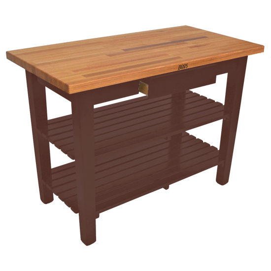 John Boos Oak Table Boos Block 60 39 39 W Kitchen Island With 2 Shelves Free Shipping