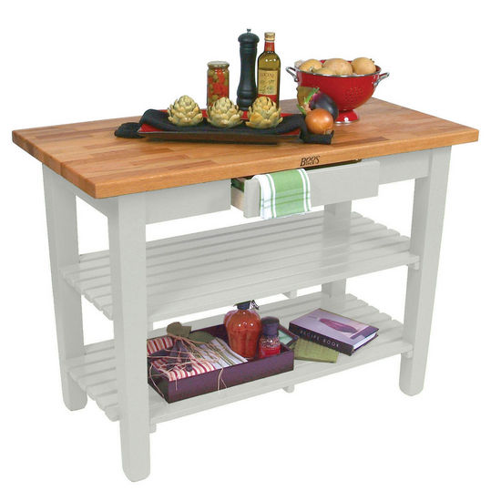 "John Boos Oak Table Boos Block, 60""W x 25""D x 35""H, With 2 Shelves, Alabaster"