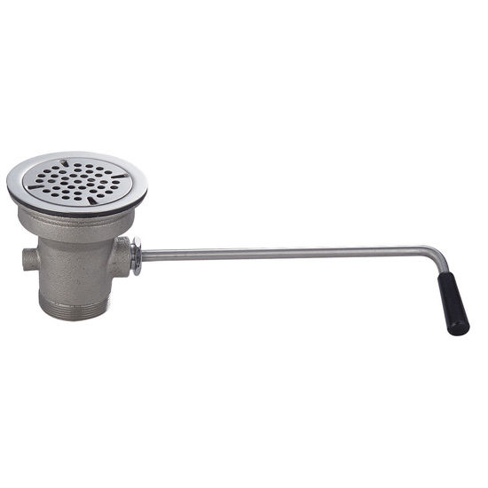 """John Boos Twist Action Lever Drain, Fits 3-1/2"""" Drain Opening, 2"""" Outlet"""