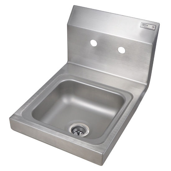 "John Boos Pro Bowl Fabricated Space Saver Wall Mount Hand Sink, Stainless Steel, Splash Mount Faucet Holes with 4"" On-Center Spread (Faucet Not Included), 9""W x 9""D x 5""H, 1-7/8"" Drain"