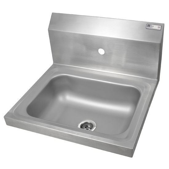 "John Boos Pro Bowl Fabricated Space Saver Wall Mount Hand Sink, Stainless Steel, Splash Mount Faucet Hole Centered (Faucet Not Included), 14""W x 10""D x 5""H, 1-7/8"" Drain"