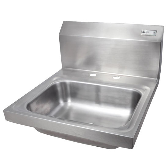 """John Boos Pro Bowl Fabricated Space Saver Wall Mount Hand Sink, Stainless Steel, Deck Mount Faucet Holes with 4"""" On-Center Spread (Faucet Not Included), 14""""W x 10""""D x 5""""H, 1-7/8"""" Drain"""