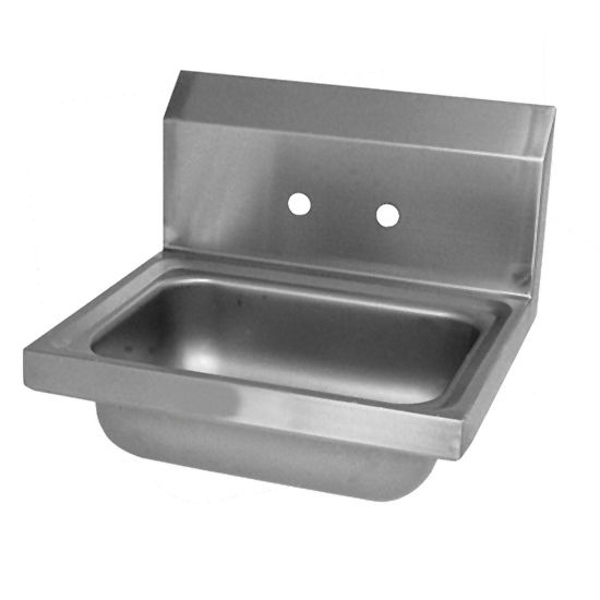 """John Boos Pro Bowl Fabricated Space Saver Wall Mount Hand Sink, Stainless Steel, Splash Mount Faucet Holes with 4"""" On-Center Spread (Faucet Not Included), 14""""W x 10""""D x 5""""H, 3-1/2"""" Drain"""