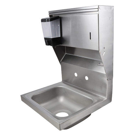 "John Boos Pro Bowl Fabricated Space Saver Wall Mount Hand Sink with Soap & Paper Towel Dispenser, Stainless Steel, Splash Mount Faucet Holes with 4"" On-Center Spread (Faucet Not Included), 14""W x 10""D x 5""H, 3-1/2"" Drain"