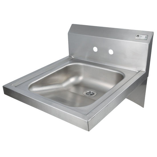 "John Boos Pro Bowl Fabricated Space Saver Physically Challenged Wall Mount Hand Sink, Stainless Steel, Splash Mount Faucet Holes with 4"" On-Center Spread, 20""W x 24""D x 5""H, 1-7/8"" Drain"