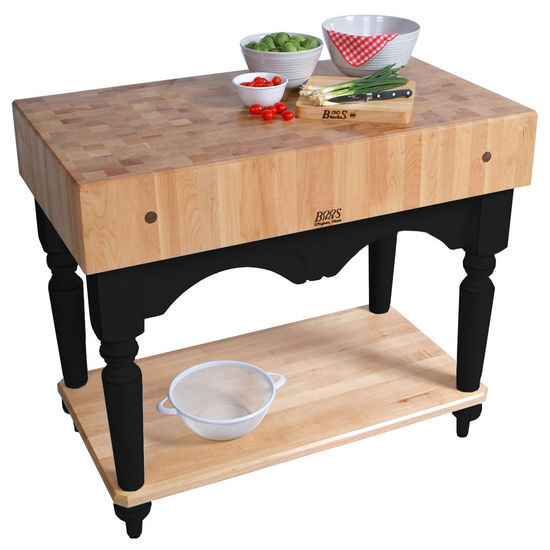 "Calais Work Table with 7"" Thick End Grain Butcher Block Top by John Boos"