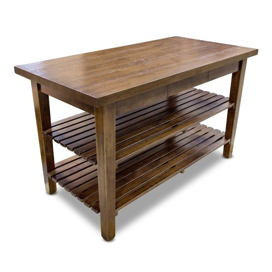 """John Boos Boos 1887 Collection Rustic-Edge Table with Hardword Top, 60"""" W x 30"""" D x 35"""" H"""