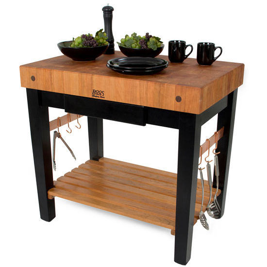 American Cherry Pro Prep Block with Optional Pot Rack (Sold Separately) by John Boos