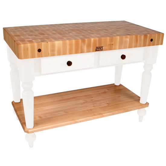 John boos kitchen island work tables 48 39 39 cucina rustica kitchen work table with shelf with - Butcher block kitchen work table ...