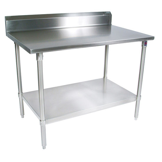 "John Boos 16-Gauge Stainless Steel Worktable w/ 6"" Backsplash & Galvanized Shelf & Legs"