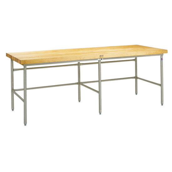 "John Boos Baker's Production Table, Stainless Steel Frame, with 2-1/4"" Thick Hard Rock Maple Wood Top"