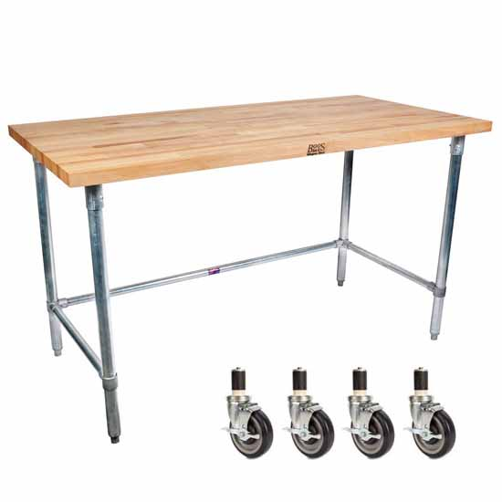 John Boos 1-3/4'' Thick Maple Top Work Table W/ Stainless