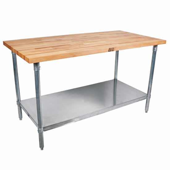 "1-3/4"" Thick Maple Top Kitchen Islands with Stainless Steel Base and Shelf by John Boos"