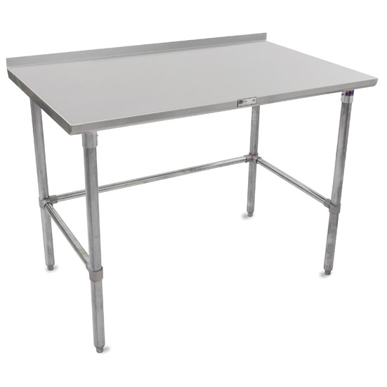 """John Boos ST4R1.5-GB Series 14-Gauge Stainless Steel Top Work Table in Multiple Sizes with 1-1/2"""" Riser, Adjustable Galvanized Legs & Bracing, Knocked Down Options"""