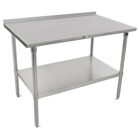 """John Boos ST4R1.5-SS Series 14-Gauge Stainless Steel Top Work Table in Multiple Sizes with 1-1/2"""" Riser, Adjustable Stainless Legs & Shelf, Knocked Down Options"""